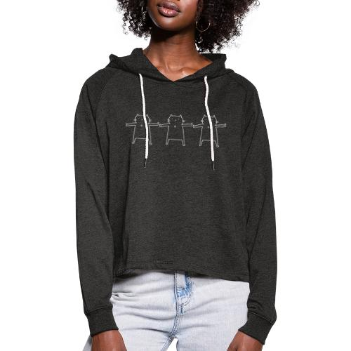 Performing Cat weiß - Frauen Cropped Hoodie