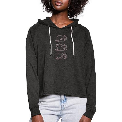 3 Cats rosa - Frauen Cropped Hoodie
