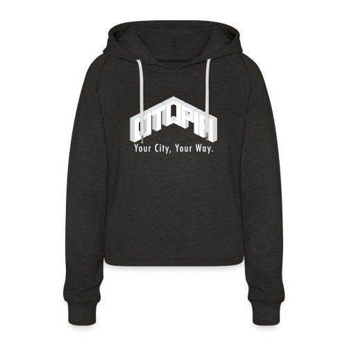 Logo with Slogan - Women's Cropped Hoodie