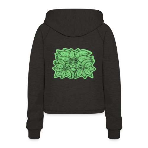 Green Man for Pagan Global Warming/Climate Change - Women's Cropped Hoodie