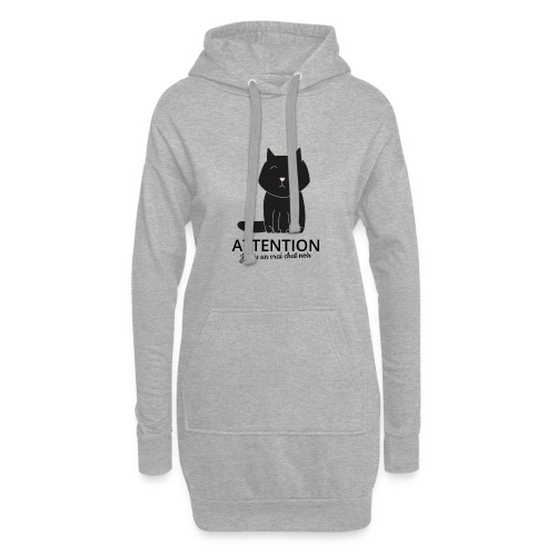 Chat noir - Sweat-shirt à capuche long Femme