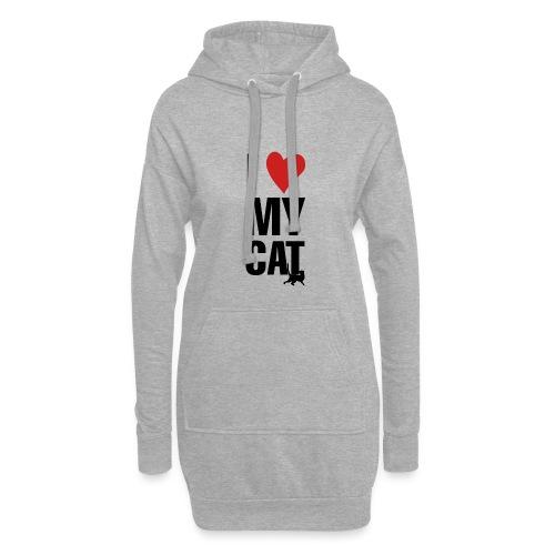 I_LOVE_MY_CAT-png - Sudadera vestido con capucha
