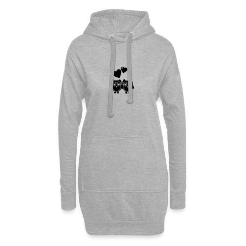 verliebte Eulen - Hoodie-Kleid