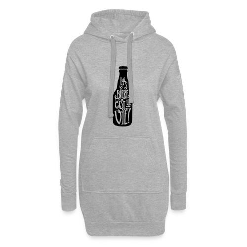 bière, la bière c'est la vie - Sweat-shirt à capuche long Femme