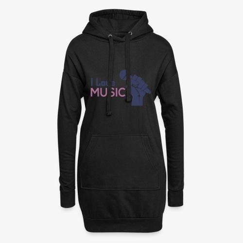 Amo la música - Sudadera vestido con capucha