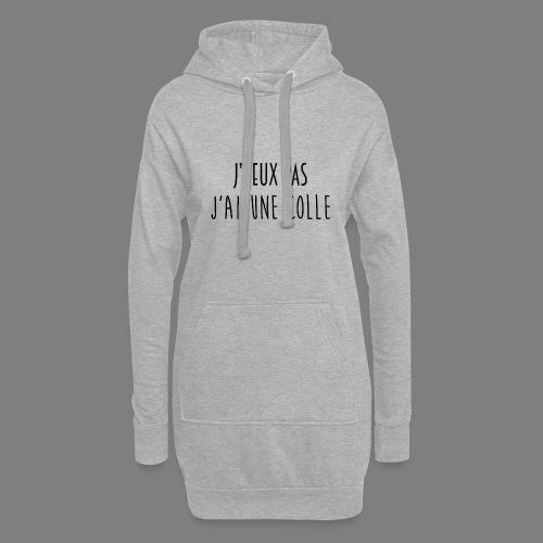 J'PEUX PAS, J'AI UNE COLLE [NOIR] - Sweat-shirt à capuche long Femme