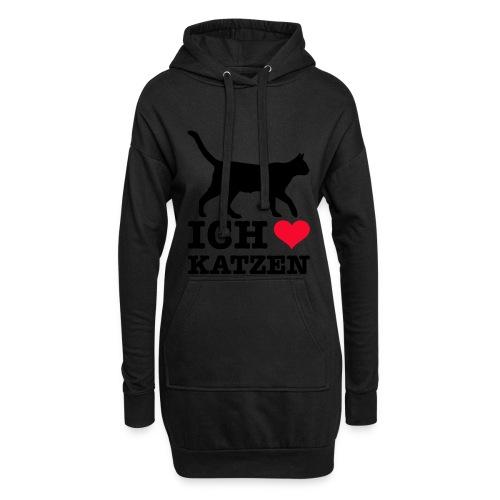 Ich liebe Katzen mit Katzen-Silhouette - Hoodie-Kleid