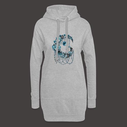 Lune dentelle bleue - Sweat-shirt à capuche long Femme