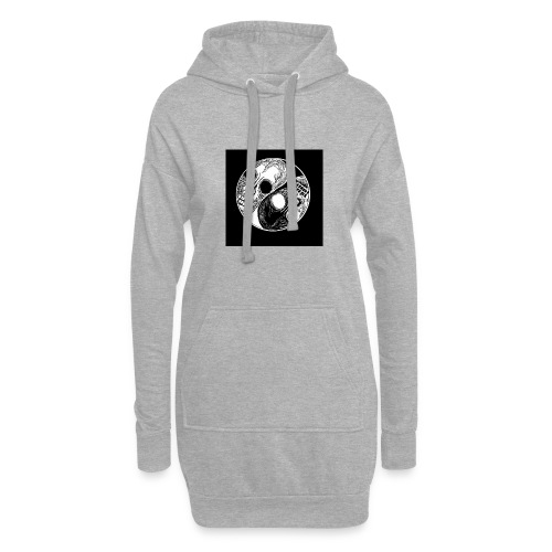 Yng yang skull - Sweat-shirt à capuche long Femme