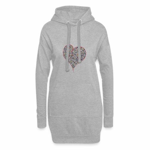 Heart - Długa bluza z kapturem