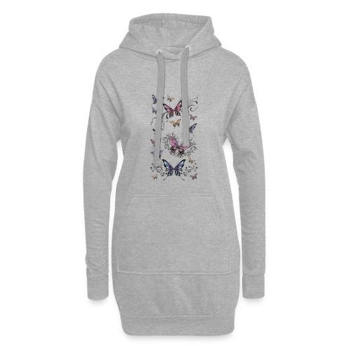 Tattoo de mariposas lilas y rosas - Sudadera vestido con capucha