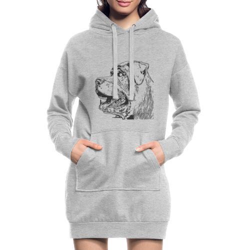 Rottweiler Mund offen schwarz - Hoodie-Kleid