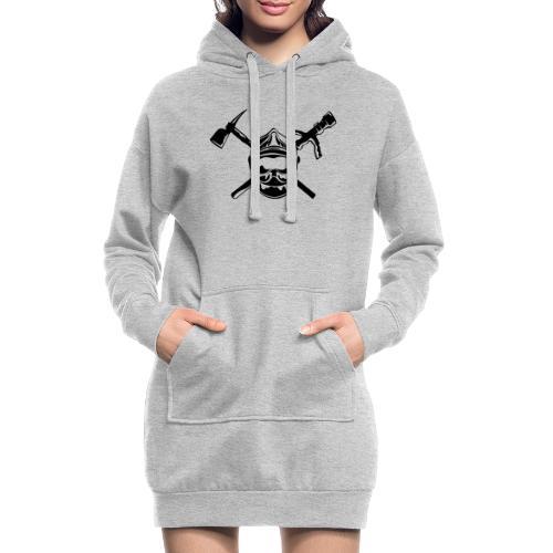 casque_pompier_hache et lance - Sweat-shirt à capuche long Femme