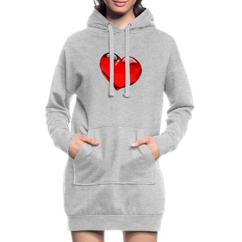 serce 3D - Długa bluza z kapturem