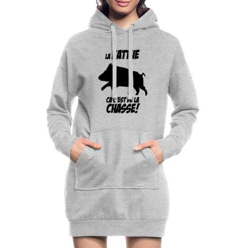 La battue, ça c'est de la chasse (motif sanglier) - Sweat-shirt à capuche long Femme