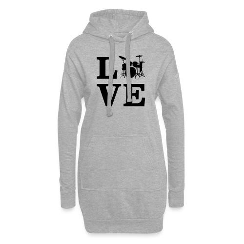 I Love Drums / Schlagzeug T Shirt für Schlagzeuge - Hoodie-Kleid