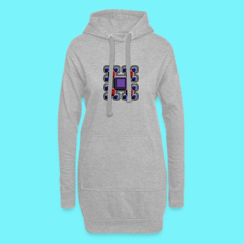 Blocks with lines and solid shadows - Hoodie Dress