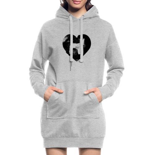 Französische Bulldogge Herz mit Silhouette - Hoodie-Kleid