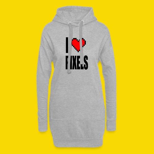 I Love Pixels - Długa bluza z kapturem
