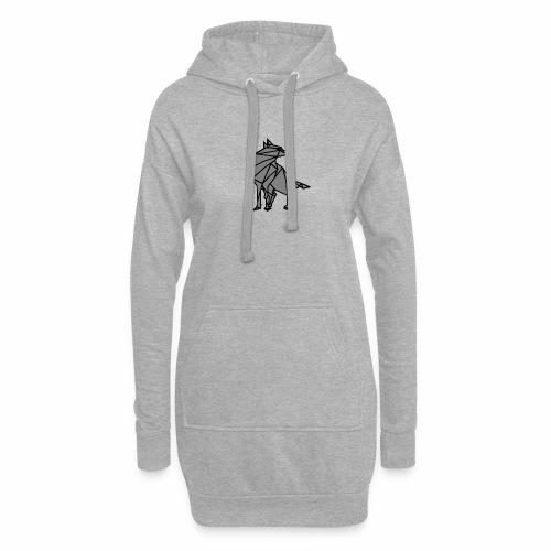 loup geometrique - Sweat-shirt à capuche long Femme
