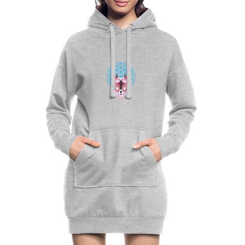 fleur de vie loup n°1 - Sweat-shirt à capuche long Femme