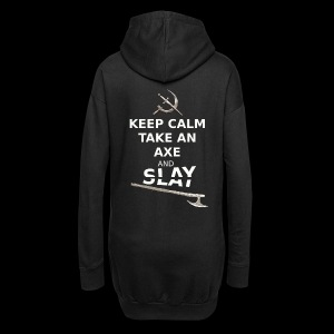 Keep Calm Take an Axe and Slay - Blanc - Sweat-shirt à capuche long Femme