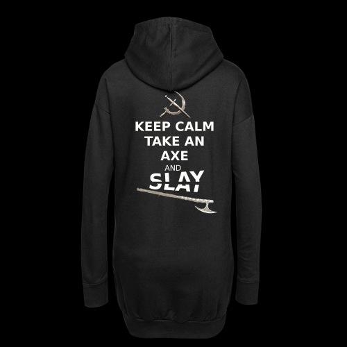 Keep Calm Take an Axe and Slay - Blanc - Sweat-shirt à capuche long Femme