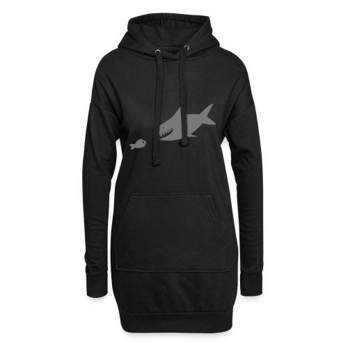 Kleiner Fisch + Hai / dunkler Hintergrund - Hoodie-Kleid