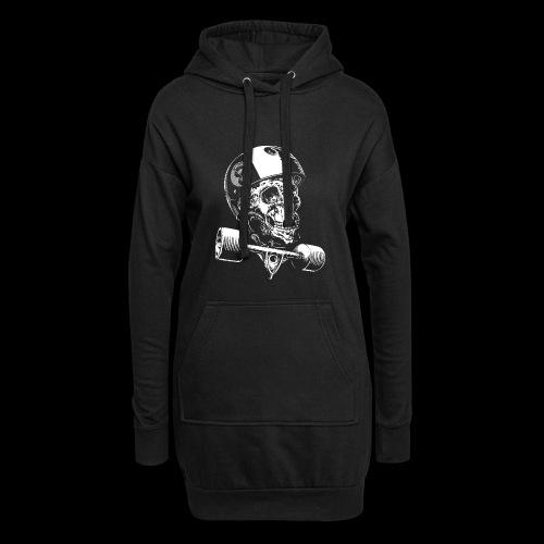 Skull Longboard Rider - negative print - Sweat-shirt à capuche long Femme