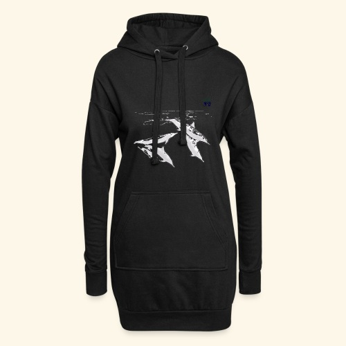 5 Gray dolphins - Hoodie Dress