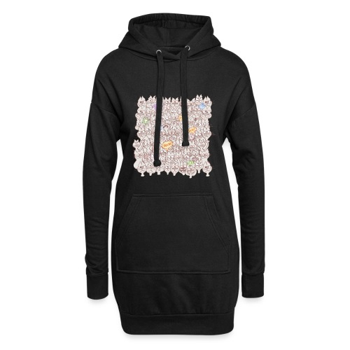 Funny cats posing in a meowing pattern - Hoodie Dress