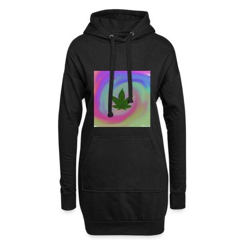 Hanfblatt auf bunten Hintergrund - Hoodie-Kleid