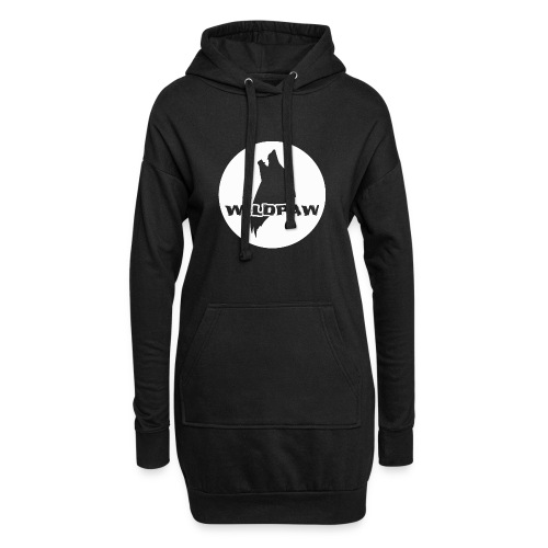 Wildpaw logo circular transparent mono WHITE - Hoodie Dress