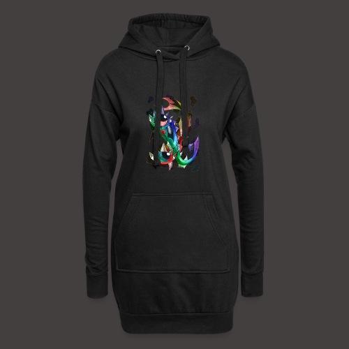 Poisson multi-color - Sweat-shirt à capuche long Femme