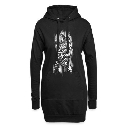 Samurai / White - Abstract Tatoo - Hoodie Dress