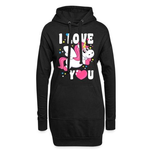 I love You Einhorn - Hoodie-Kleid