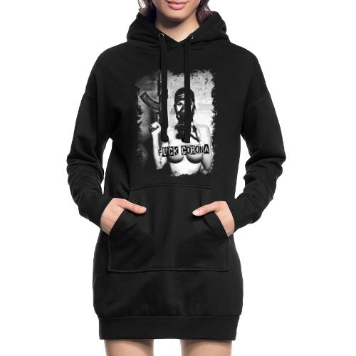 masked girl with AK - FUCK CORONA - 4black clothes - Hoodie-Kleid