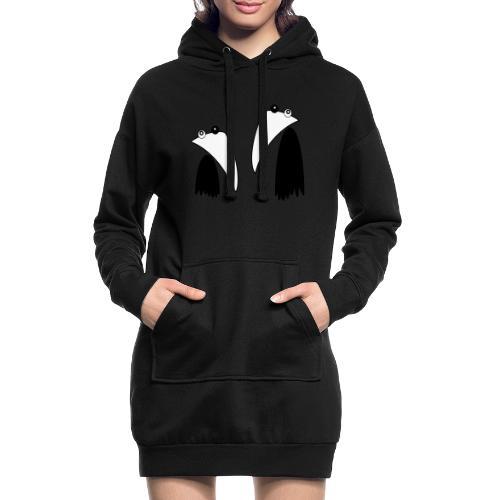 Raving Ravens - black and white 1 - Sweat-shirt à capuche long Femme