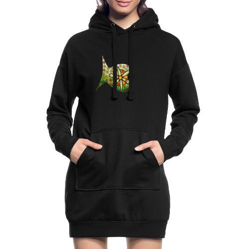 Blüten Fischdesign - Hoodie-Kleid