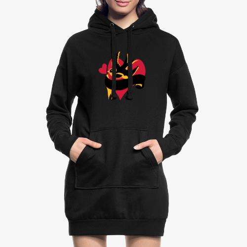 retro tattoo bird with heart - Hoodie Dress