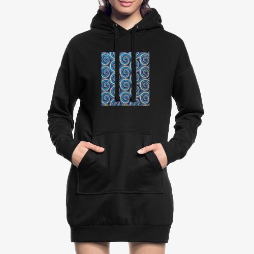 Spirales au motif bleu - Sweat-shirt à capuche long Femme
