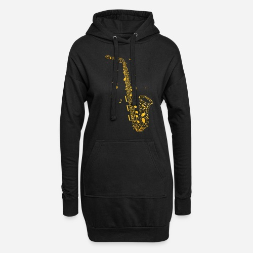 Goldenes Saxophon aus Musiknoten - Hoodie-Kleid