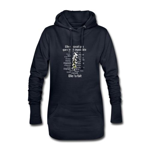 Impossible et fait Femme brèche Fond Sombre - Sweat-shirt à capuche long Femme