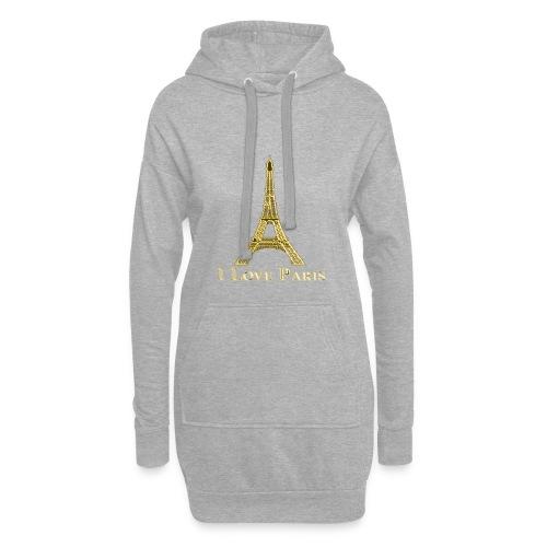 Design Paris I love paris - Sweat-shirt à capuche long Femme