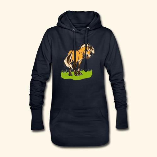 Freundliches Fjordpferd (Ohne Text) Weisse Umrisse - Sweat-shirt à capuche long Femme