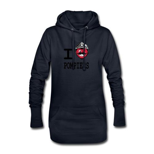 i_love_pompier_4 - Sweat-shirt à capuche long Femme