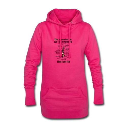 Impossible et fait Femmes brèche Fond Clair - Sweat-shirt à capuche long Femme