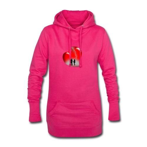 t shirt coeur rouge coup de foudre eclairs - Sweat-shirt à capuche long Femme