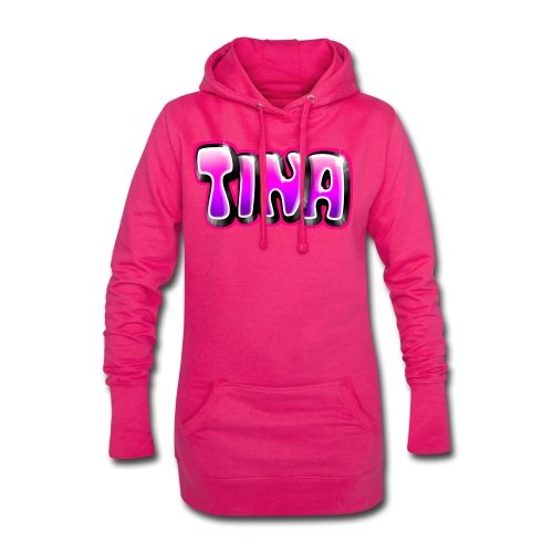 GRAFFITI TAG TINA PRINTABLE ON EVERYTHING PINK - Sweat-shirt à capuche long Femme