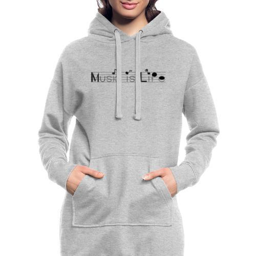 music is life - Sweat-shirt à capuche long Femme